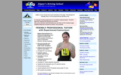 Screenshot of Home Page drivingnt.com - Driving lessons in Darwin NT Australia - Zippers Driving School - captured Sept. 26, 2015