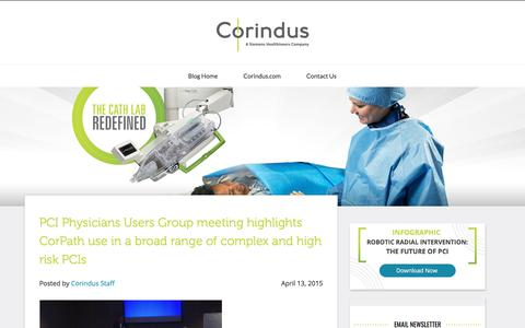 Screenshot of Blog corindus.com - PCI Physicians Users Group meeting highlights CorPath use in a broad range of complex and high risk PCIs - captured Jan. 16, 2020