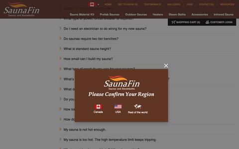 Screenshot of FAQ Page saunafin.com - Home Saunas, Sauna Kits, Steam Showers | FAQs | Saunafin - captured Nov. 1, 2018