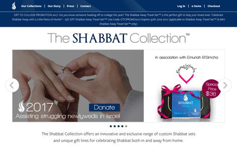 Screenshot of Home Page theshabbatcollection.com - The Shabbat Collection - captured June 15, 2017