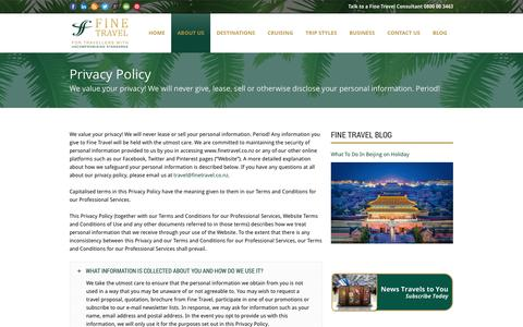 Screenshot of Privacy Page finetravel.co.nz - Fine Travel  Privacy Policy - captured Sept. 30, 2014