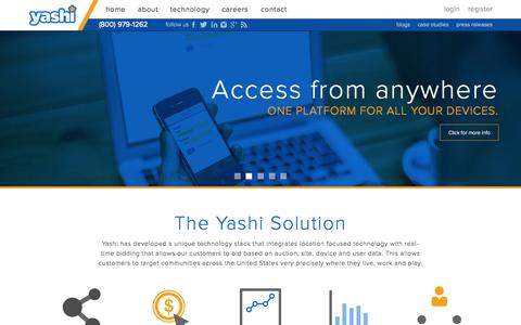 Screenshot of Landing Page yashi.com - Yashi | Location Focused Video - captured July 3, 2015