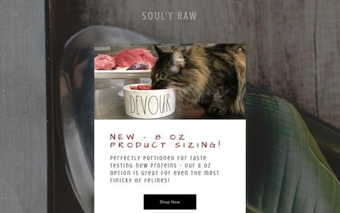 Screenshot of Home Page soulyraw.com - Soul'y Raw Specialty Pet Food - captured Oct. 20, 2018