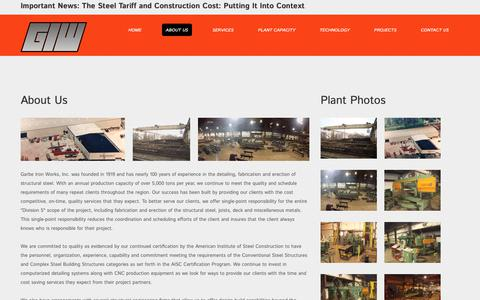 Screenshot of About Page giwinc.com - About Us | Garbe Iron Works - captured Nov. 10, 2018