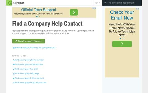 Screenshot of Contact Page gethuman.com - Find a company Help Contact - captured Oct. 1, 2015