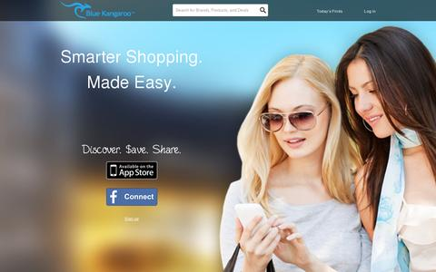 Screenshot of Home Page bluekangaroo.com - Blue Kangaroo - Printable Coupons, Promo Codes, Discounts, and Deals - What's The Roo Found For You? - captured July 11, 2014