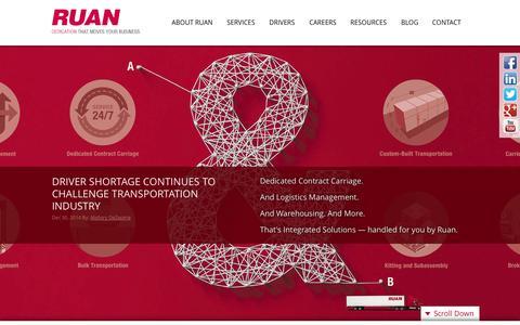 Screenshot of Home Page ruan.com - Ruan Transportation Management Systems - Logistics, Fleet Management & More - captured Jan. 26, 2015