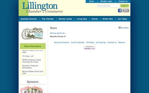 Screenshot of Press Page lillingtonchamber.org - News - Lillington Chamber of Commerce - NC - captured Oct. 3, 2014