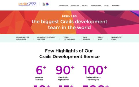 Screenshot of Services Page intelligrape.com - A premium Grails Development company for Consulting, Outsourcing - captured Sept. 25, 2014