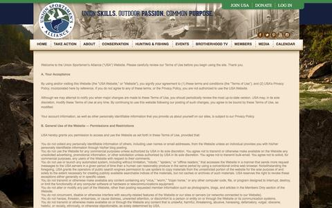 Screenshot of Terms Page unionsportsmen.org - Terms of Use - Union Sportsmen's Alliance - captured Nov. 28, 2016