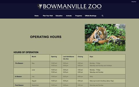 Screenshot of Hours Page bowmanvillezoo.com - Hours Of Operation – Bowmanville Zoo - captured Nov. 23, 2016
