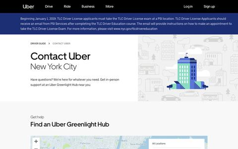 Screenshot of Contact Page uber.com - Contact Uber in New York City   Find a Greenlight Hub   Uber - captured March 3, 2019