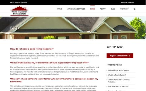 Screenshot of FAQ Page homeinspectionprofessionals.com - Home Inspection - Frequently Asked Questions | Home Inspection Professionals - captured Dec. 10, 2015
