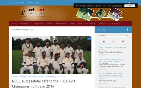 Screenshot of Home Page Press Page cricket-belgium.com - Belgium Cricket Federation - Cricket in Belgium - captured Sept. 30, 2014