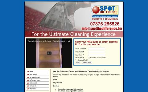 Screenshot of Site Map Page spotthedifference.biz - Carpet cleaning oxford | Carpet Cleaning Banbury Spot the Difference Oxford 07876 255526 - captured Dec. 13, 2016