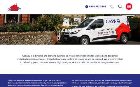 Screenshot of Jobs Page gasway.co.uk - Careers - Gasway - captured Nov. 10, 2018