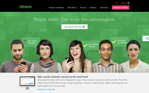 Screenshot of Home Page lithium.com - Social Software for Customer Community Management & Social Media Marketing Solutions | Lithium - captured Jan. 14, 2015