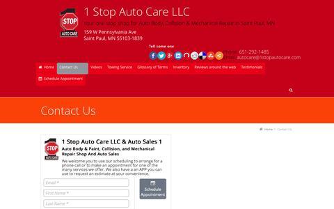 Screenshot of Contact Page 1stopautocare.com - Contact Us - captured Dec. 2, 2016