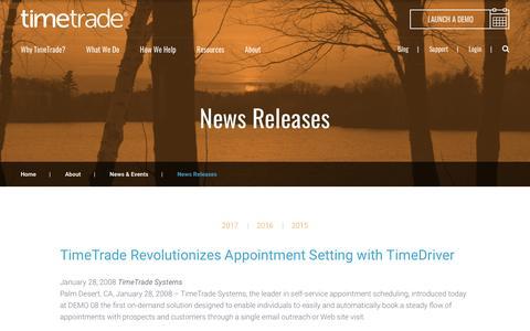 Screenshot of Press Page timetrade.com - Omnichannel Customer Experience News Releases | TimeTrade - captured April 2, 2017
