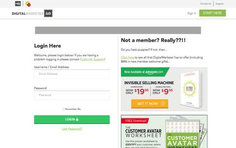 Screenshot of Login Page digitalmarketer.com - Digital Marketer | Marketing Strategies That Actually Work - captured June 1, 2016