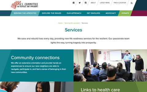 Screenshot of Services Page refugees.org - U.S. Committee for Refugees and Immigrants | - U.S. Committee for Refugees and Immigrants - captured Dec. 10, 2018