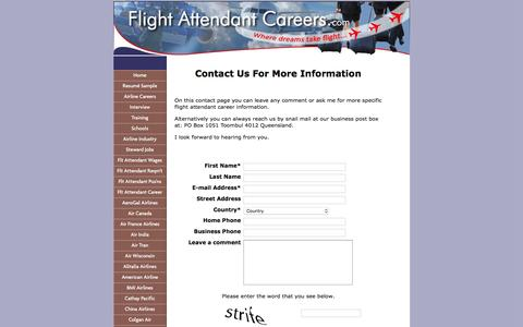Screenshot of Contact Page flight-attendant-careers.com - Contact Us For More Information - captured Jan. 15, 2016