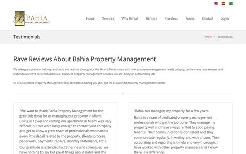 Screenshot of Testimonials Page miami-propertymanagement.com - Miami Property Management Companies Reviews - captured Oct. 31, 2018