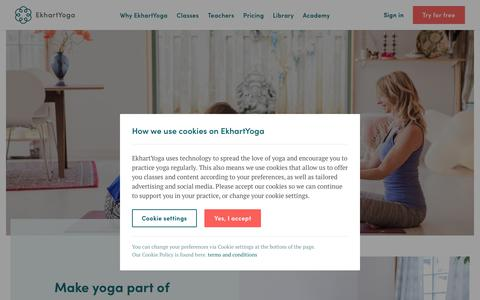 Screenshot of Home Page ekhartyoga.com - Online yoga classes and programs | Ekhart Yoga - captured July 13, 2019