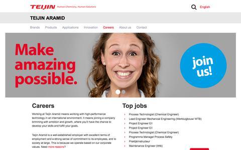 Screenshot of Jobs Page teijinaramid.com - Careers | Teijin Aramid - captured Sept. 20, 2018