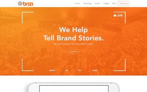Screenshot of Contact Page brizicam.com - Brizi | Official Website | Monetize Fan Content in Sports - captured Sept. 25, 2016