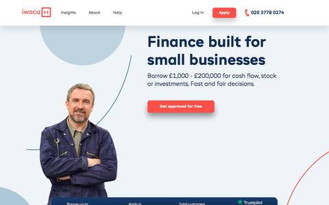 Screenshot of Home Page iwoca.co.uk - Small business finance solutions & business funding | iwoca - captured Oct. 3, 2019