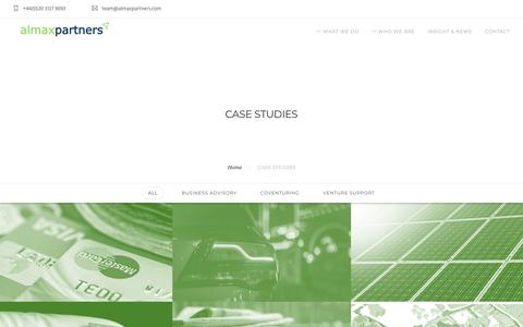 Screenshot of Case Studies Page almaxpartners.com - CASE STUDIES – Almax Partners - captured July 29, 2018