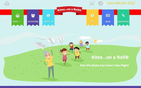 Screenshot of Home Page kitesonaroll.com - Kite Making Kits for all Occasions | Chagrin Falls, OH | Kites...on a Roll® - captured Sept. 22, 2018
