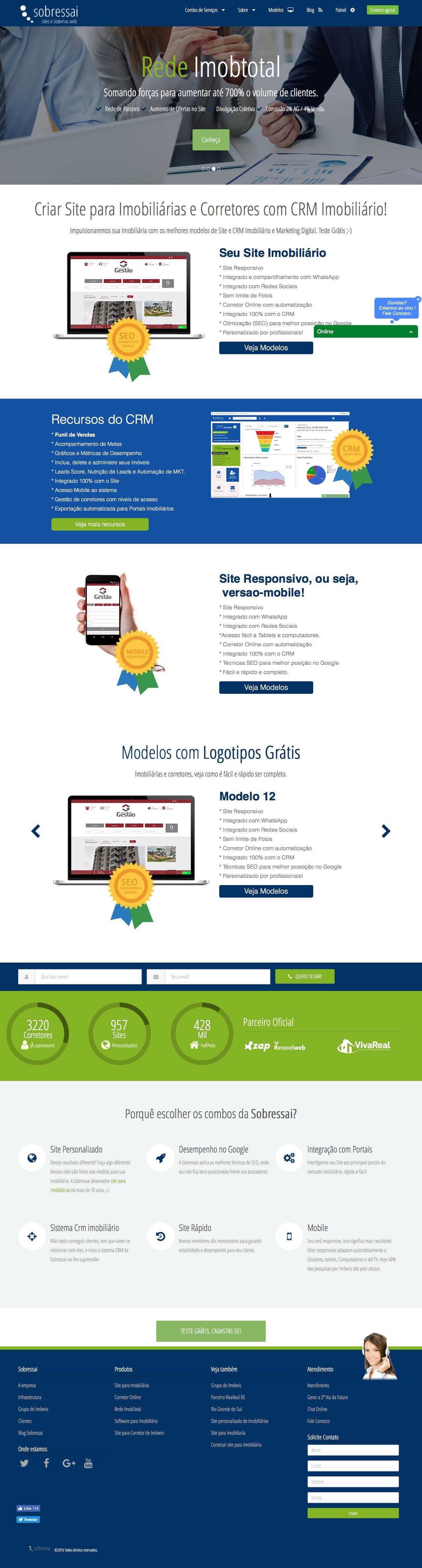 Screenshot of sobressai.com.br - Sobressai - Sites para imobiliárias ou Corretores de Imóveis com CRM Imobiliário - captured Dec. 21, 2016