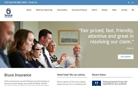 Screenshot of Home Page bruce.com.au - Business Insurance Perth | Insurance Brokers Perth | Bruce Insurance - captured Oct. 11, 2017