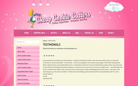 Screenshot of Testimonials Page cheapcookiecutters.com - Testimonials | Cheap Cookie Cutters - captured July 20, 2015