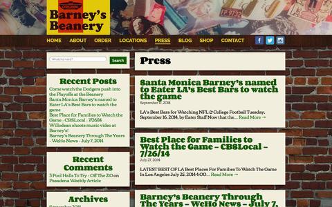 Screenshot of Press Page barneysbeanery.com - Press - Barney's Beanery - captured Sept. 30, 2014