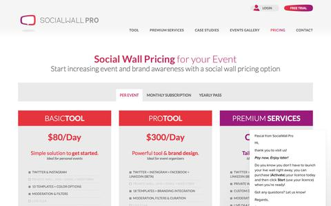 Screenshot of Pricing Page socialwallpro.com - Social Wall Pricing | Tweet Wall Pricing | SocialWall Pro - captured July 8, 2018