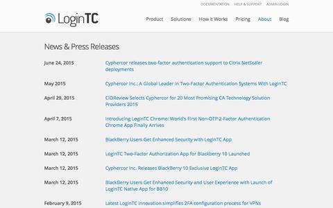 Screenshot of Press Page logintc.com - News & Press Releases - captured Feb. 2, 2016
