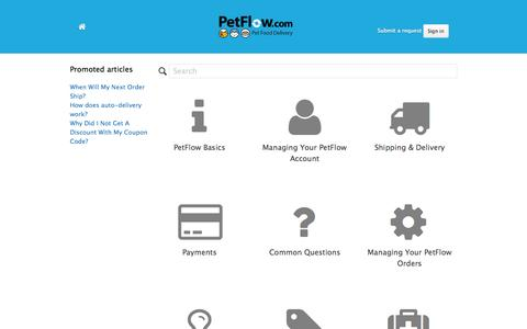 Screenshot of Support Page petflow.com - PetFlow Customer Support - captured July 3, 2015