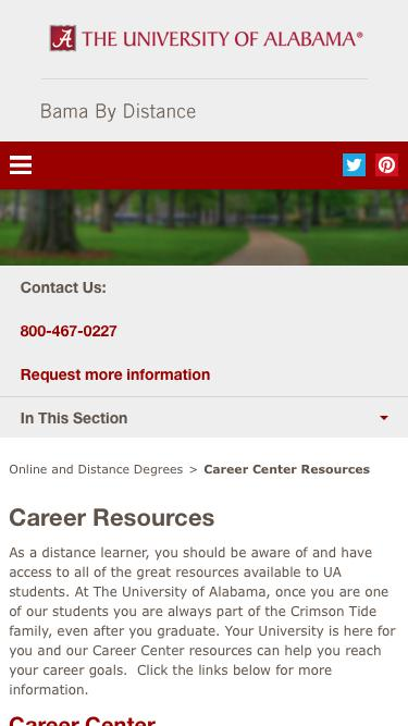 Screenshot of Jobs Page  ua.edu - Career Center Resources - Bama By Distance
