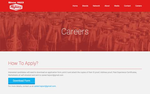 Screenshot of Jobs Page hajoori.com - Hajoori  | Careers - captured Jan. 24, 2016
