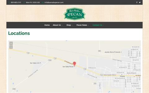 Screenshot of Locations Page sansabapecan.com - San Saba Pecan   Locations - captured Nov. 18, 2016