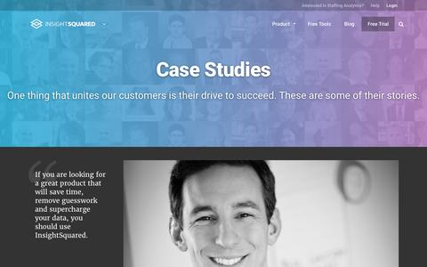 Screenshot of Case Studies Page insightsquared.com - Case Studies And Testimonials For InsightSquared - captured April 12, 2016