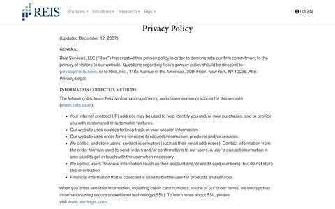 Screenshot of Privacy Page reis.com - Privacy Policy » Reis - captured July 30, 2018