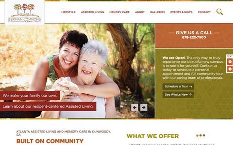 Screenshot of Home Page bermancommons.org - Berman Commons | Atlanta Assisted Living & Memory Care - captured Sept. 2, 2015