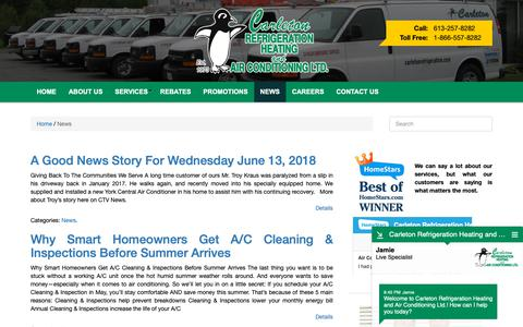 Screenshot of Press Page carletonrefrigeration.com - News | Carleton Refrigeration - captured Sept. 27, 2018