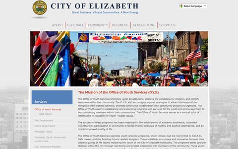 Screenshot of Services Page elizabethnj.org - The Mission of the Office of Youth Services (O.Y.S.) | City of Elizabeth - captured Jan. 28, 2016