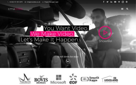 Screenshot of Home Page cmavideo.co.uk - Corporate Video Production Company Birmingham   CMA - captured May 11, 2017