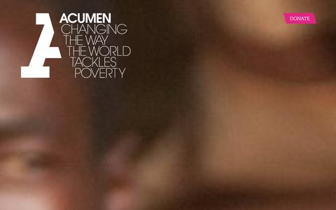 Screenshot of Home Page acumen.org - Acumen is a Bold New Way of Tackling Poverty - captured Jan. 15, 2016